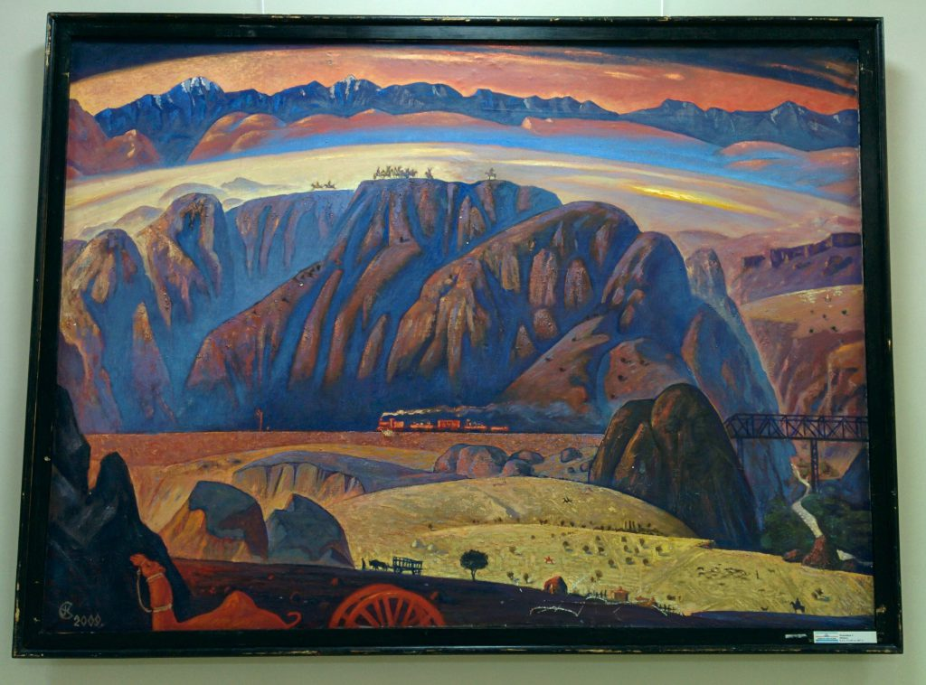 Info Shymkent - Oil painting with a train is crossing the beautiful landscape of South Kazakhstan