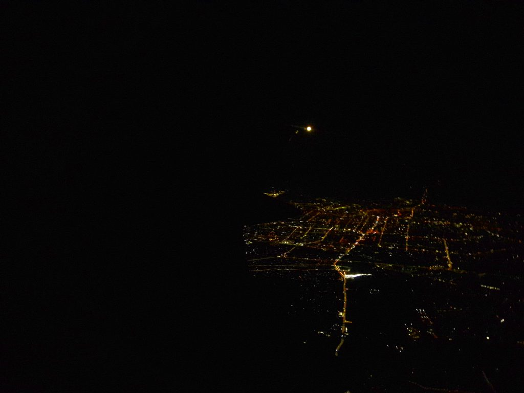 View from plane down to Shymkent at night.