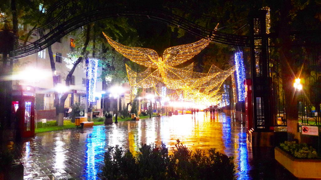 Arbat in Shymkent in a rainy night.