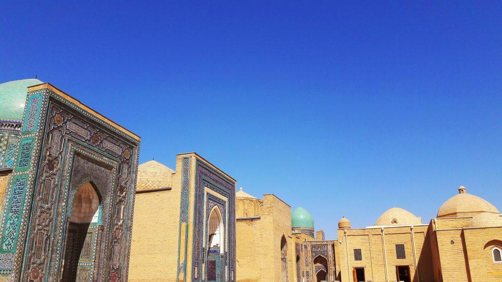 Info Shymkent - Panorama of Shah-i-Zinda at the main court in Samarkand.