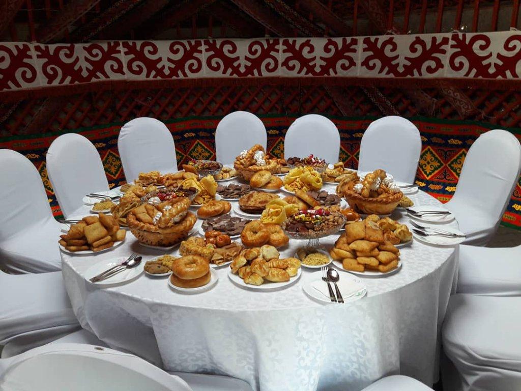 Table in Yurt during Nauryz Celebrations
