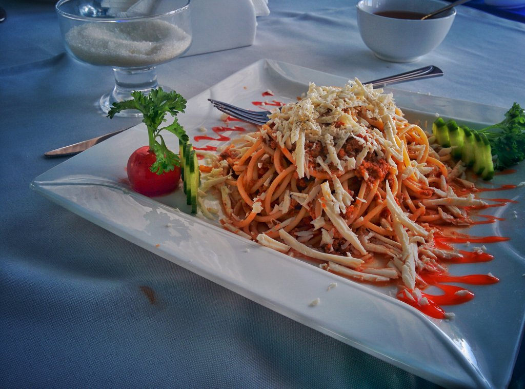 Info Shymkent - Spaghetti in the Restaurant of the TV Tower of Tashkent
