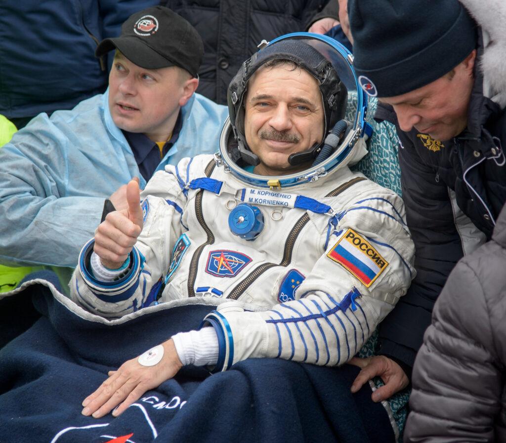Info Shymkent - 20 years human presence in space - Cosmonaut Kornienko after Soyuz landing in Kazakhstan (Image: NASA)