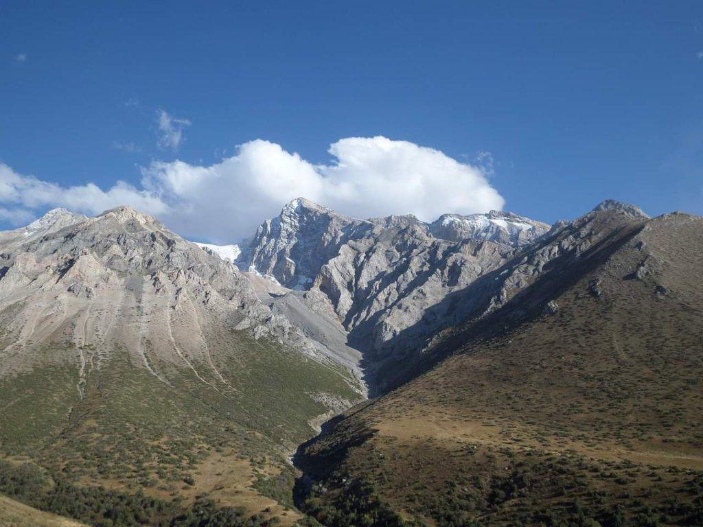 Mountain range of the Tian Shan Mountains in South Kazakhstan.