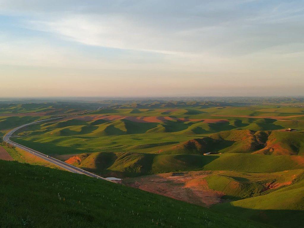 Amazing sunset at the Holy mountain of Kazygurt in south Kazakhstan.