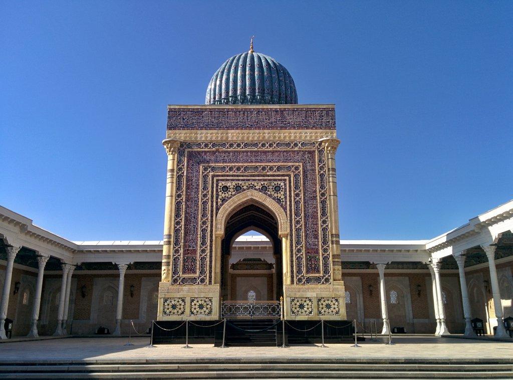 Info Shymkent - White & Blue Mausoleum of Imam Al Bukhari near Samarkand