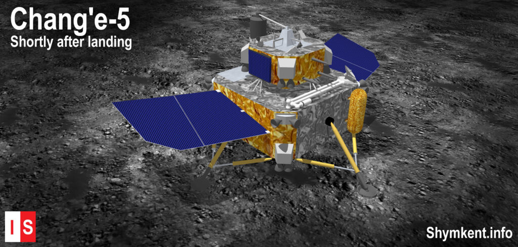 Info Shymkent - Illustration of Chang'e-5 Lander shortly after landed on Moon