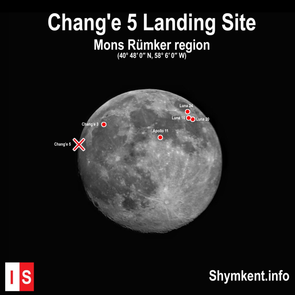 Info Shymkent - Landing site of China's Chang'e 5 lunar sample return mission