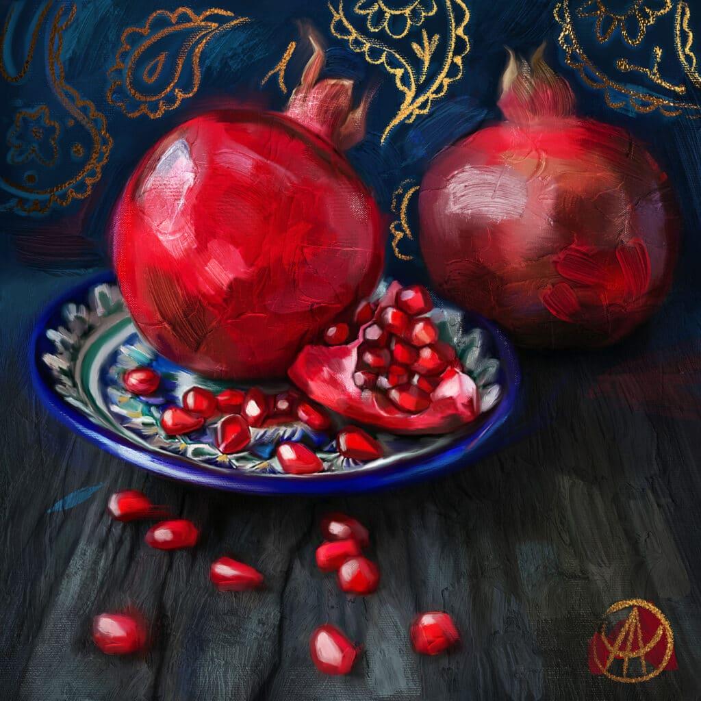 "Info Shymkent - Still life painting ""Pomegranates"" by Kazakh painter Aisulu Almasbayeva"