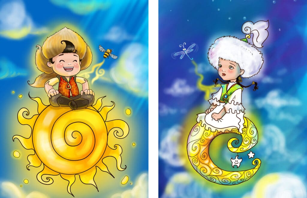 "Info Shymkent - ""The Sun And The Moon"" Artwork by Kazakh painter Aisulu Almasbayeva"