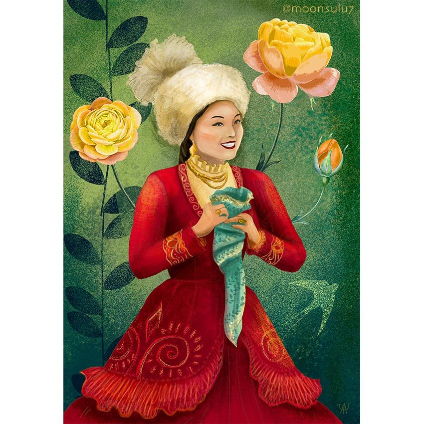 Info Shymkent - Painting of a Kazakh woman by Kazakh artist Aisulu Almasbayeva
