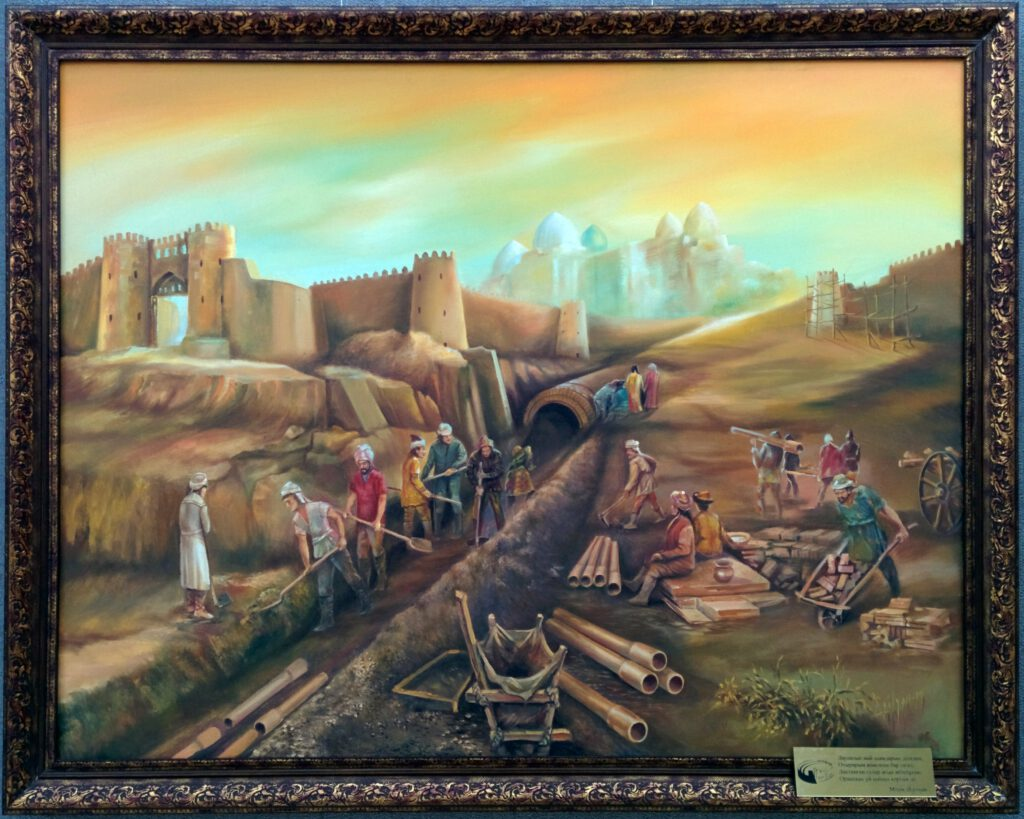 Info Shymkent - Painting about the Construction of the Canalization of the ancient silk road city Otrar in Kazakhstan (Painting: Adilkhan Malik)