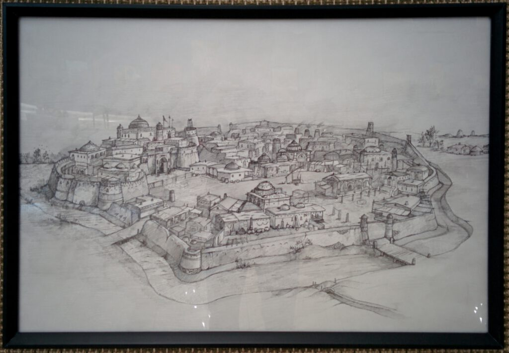 Info Shymkent - Drawing of a ancient city - propably Farab - in Museum of Fine Arts in Shymkent, Kazakhstan