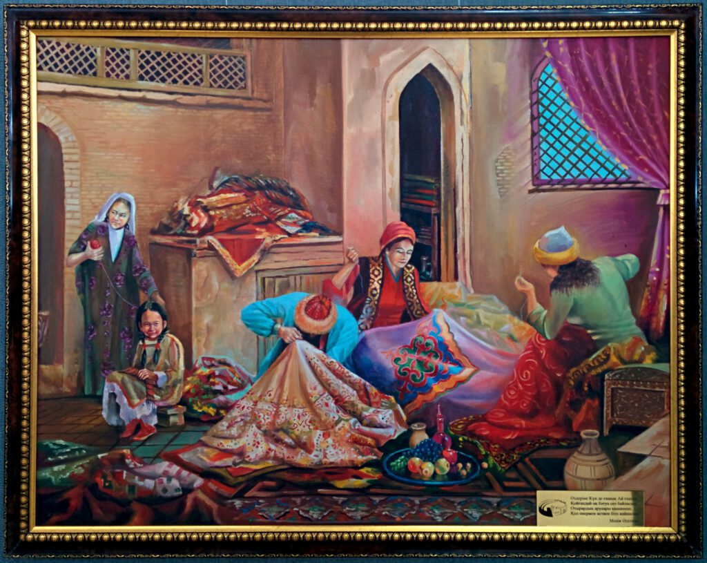 Info Shymkent - Painting about Handcraft work in ancient Otrar (Farab) in Museum of Fine Arts in Shymkent, Kazakhstan