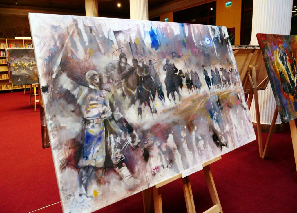 Info Shymkent - Kazakh steppe warriors on a painting of Alua Tebenova from Kazakhstan