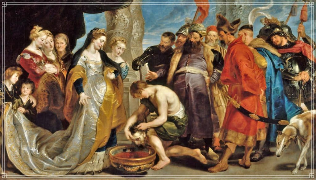"""Info Shymkent - """"The head of King Cyrus brought to Queen Tomyris"""" - Painting by Flamish painter Peter Paul Rubens"""