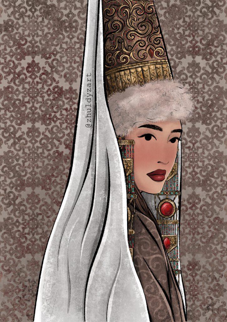 Info Shymkent - Painting of traditional dressed Kazakh Bride by Zholbarys