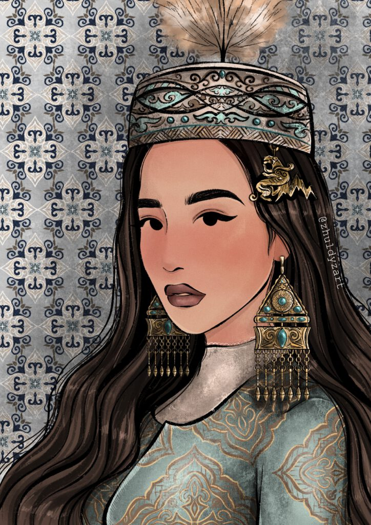 Info Shymkent - Painting of Kazakh Artist of a Girl dressed in Kazakh Traditional Style