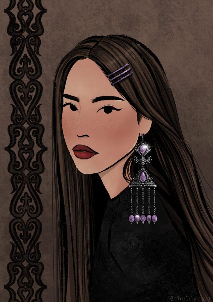 Info Shymkent - Kazakh Painter Zhuldyz Zholbarys - Beautiful Kazakh Earring