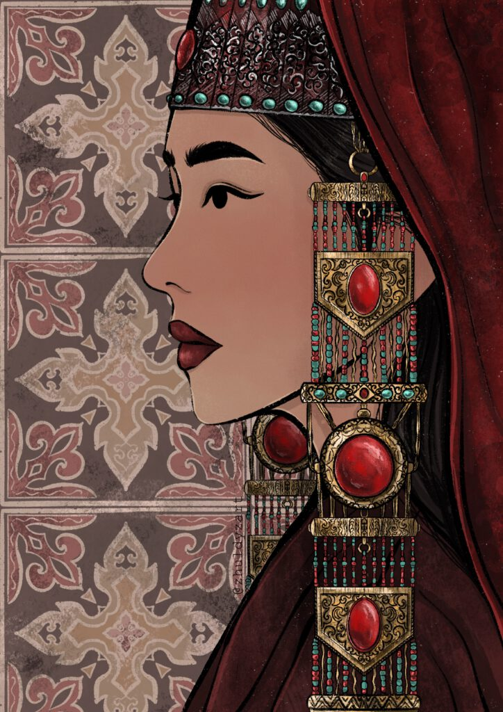 Info Shymkent - Zholbarys - Kazakh long earrings