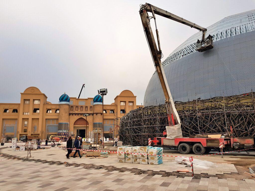Info Shymkent - Last works on the Theatr Dome of Caranvansarei project in Turkestan, Kazakhstan (Image: Dome+Partners)