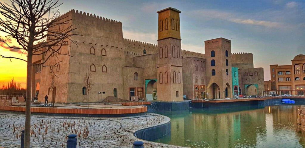 Info Shymkent - Caranvasarai development in Turkestan, Kazakhstan (Image: Dome+Partners)