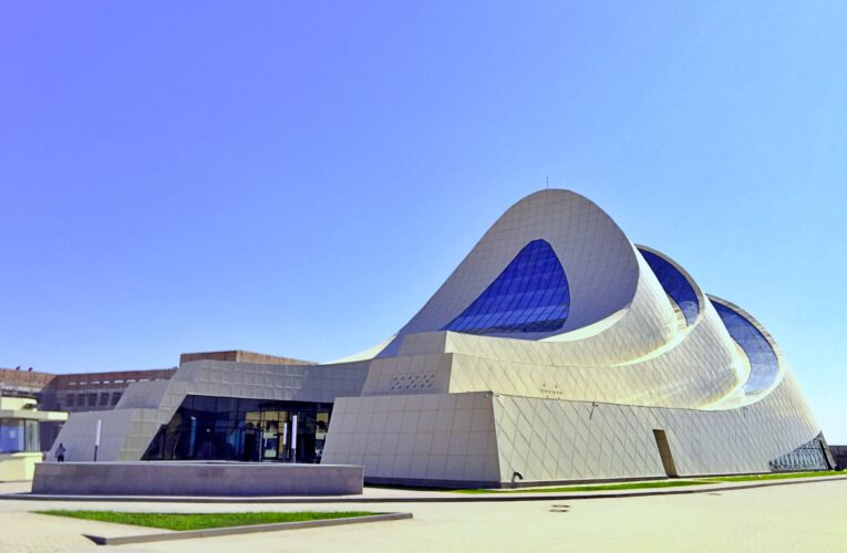 Info Shymkent - Front view of Khoja Ahmed Yasawi Museum in Turkestan (Image: Dome + Partners)