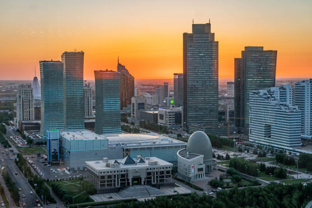 Info Shymkent - Skyline of Nursultan, Kazakhstan during Sunset captured by photographer Zhambay
