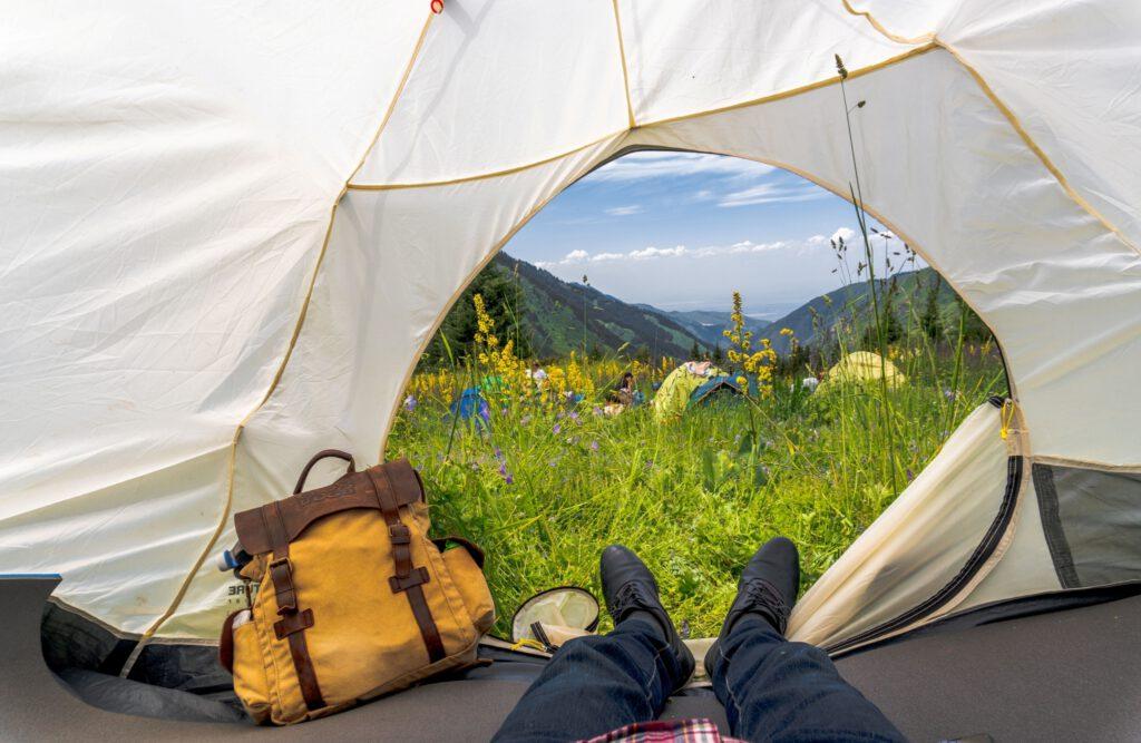 Info Shymkent - Tent view into Ile-Alatau mountains in Kazakhstan by Photographer Zhambay