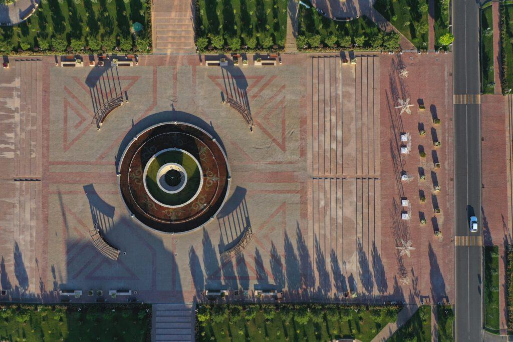 Info Shymkent - Shymkent from Above - New Akimat Fountain
